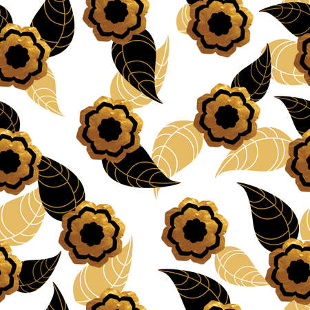 gold leafs: Seamless pattern with gold flowers and leafs on white background. Vector illustration.