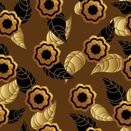 gold leafs: Seamless pattern with gold texture flowers and leafs on brown background. Vector illustration.