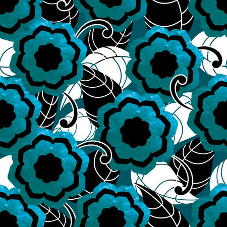 leafs: Blue seamless pattern with flowers and leafs. Vector illustration. Illustration
