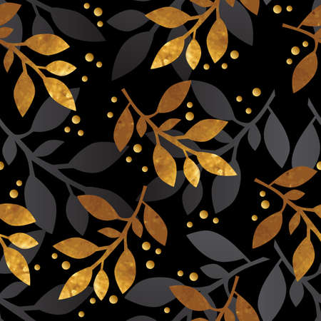 gold leafs: Floral seamless pattern with gold texture leafs on black background. Vector illustration.
