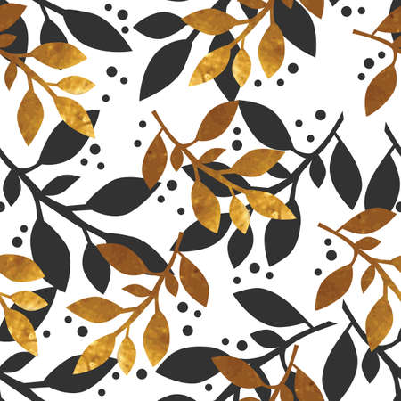 gold leafs: Floral seamless pattern with gold texture leafs on white background. Vector illustration. Illustration