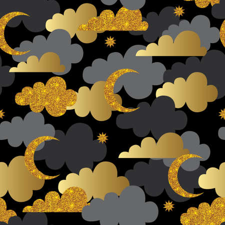 glistening: Seamless pattern with gold glitter texture clouds, stars and moon on black background. Vector illustration.