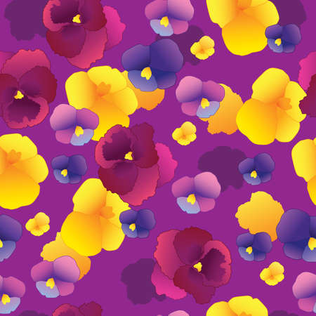 Seamless pattern with pansy flowers.Vector illustration.