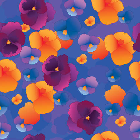 pansy: Seamless pattern with pansy flowers.Vector. Illustration