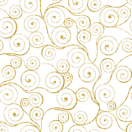 gold swirls: Gold swirls seamless pattern on white Stock Photo