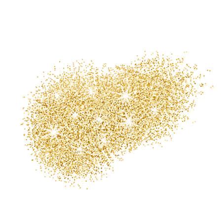 Gouden glitter splash op een witte achtergrond. Vector illustratie.
