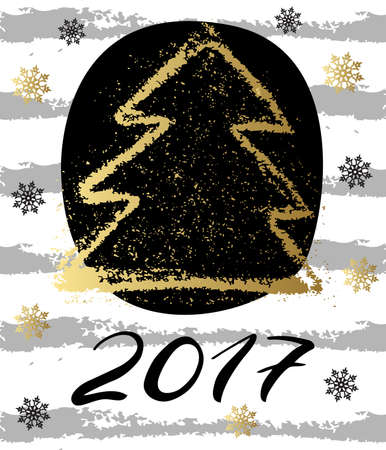 christmas three: Vintage Christmas card with gold christmas three and snawflackes. Happy New Year 2017. Concept leaflet, flyer, poster advertising or any design. Vector illustration.