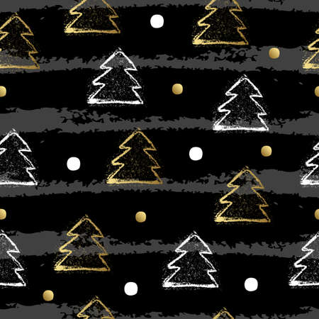 christmas three: Seamless pattern with christmas three and dot on splashes. Vector illustration. Illustration
