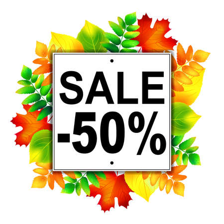 autumn leafs: Autumn sale -50% banner with colorful autumn leafs. Vector illustration.