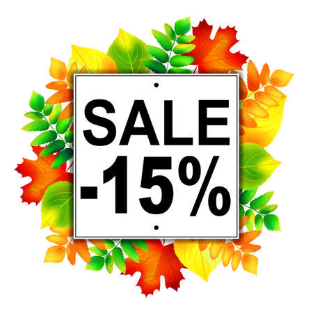 autumn leafs: Autumn sale -15% banner with colorful autumn leafs. Vector illustration.