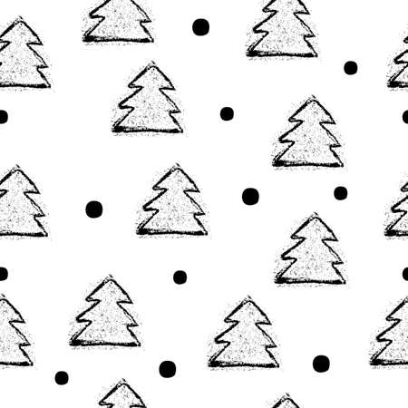 christmas three: Seamless pattern with black christmas three and dot. Vector illustration. Illustration