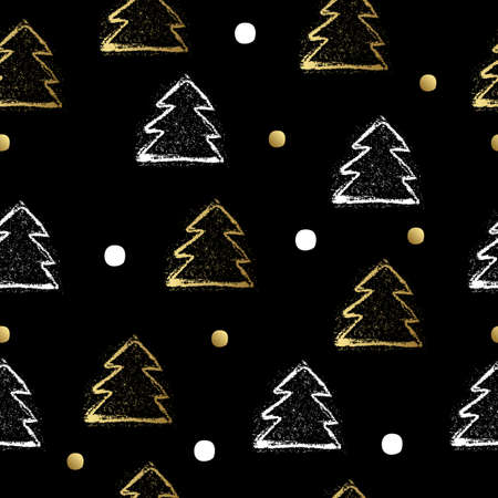 christmas three: Seamless pattern with gold christmas three and dot. Vector illustration.