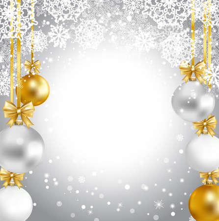 Christmas background with gold, white, silver balls, snowflakes. Vector illustration. Иллюстрация