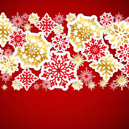 heather: Red and gold paper snowflakes on knitted texture background. Christmas background.  Vector illustration.