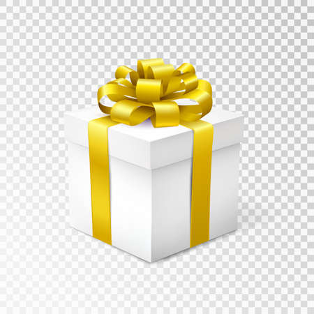 Geschenkdoos met geel lint geïsoleerd op transparante achtergrond. Vector illustratie. Stock Illustratie
