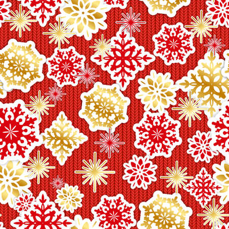 Gold and red paper snowflakes and flowers on knitted background  seamless pattern.  Vector illustration. Illustration