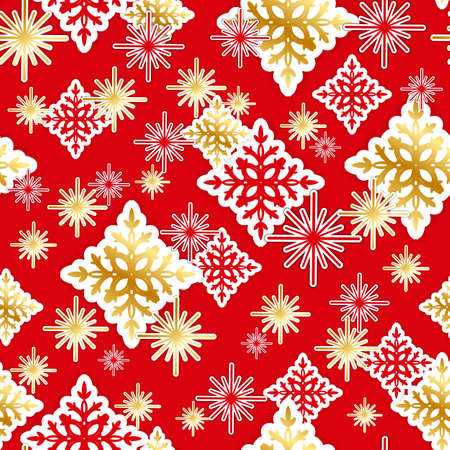 patten: Gold and red paper snowflakes seamless Christmas pattern. Vector illustration. Illustration