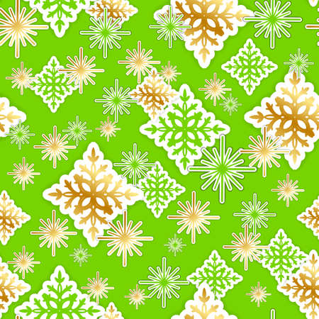 patten: Gold and green paper snowflakes seamless Christmas pattern. Vector illustration. Illustration