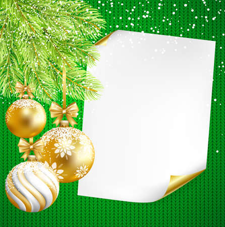 Christmas background with paper, gold, white balls and fir-tree on knitted background. Vector illustration.