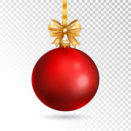 red christmas ball with gold bow isolated on transparent background vector illustration stock vector - Christmas Transparent