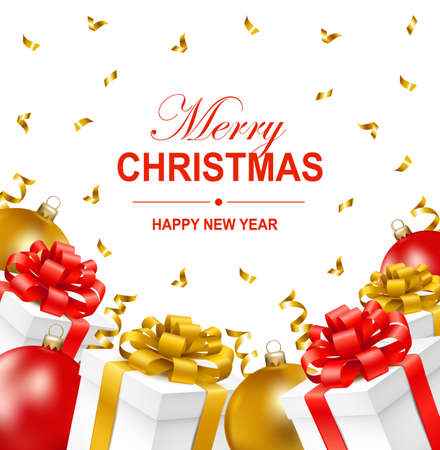 Merry Christmas and Happy New Year greeting illustration with Christmas balls, gift boxes and serpentine. Christmas greeting card. Vector illustration. Illustration