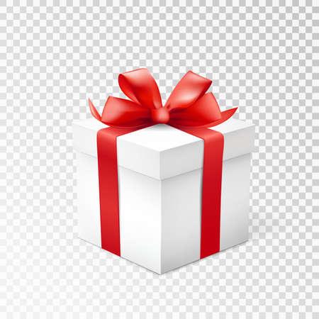 Geschenkdoos met rood lint geïsoleerd op transparante achtergrond. Vector illustratie.