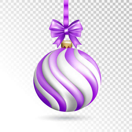 Violet striped ball with bow isolated on transparent background. Holiday christmas toy for fir tree. Vector illustration. Illustration