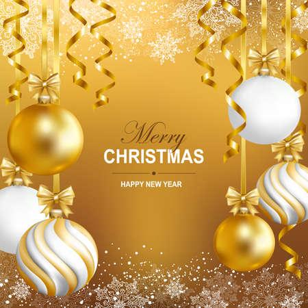Vrolijke Cristmas en gelukkig nieuwjaarskaart met gouden, witte en gestreepte ballen, sneeuwvlokken en gouden serpentine. Vector illustratie.