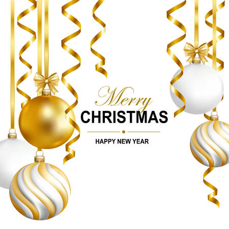 Merry Cristmas and Happy New Year card with gold, white and striped balls and gold serpentine. Vector illustration.