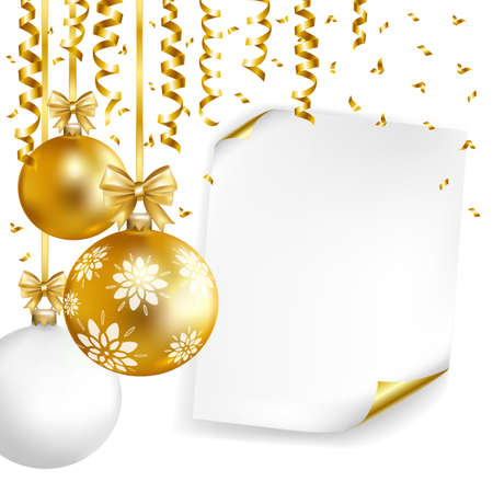 Christmas poster template with gold, white balls, paper and gold serpentine. Vector illustration.