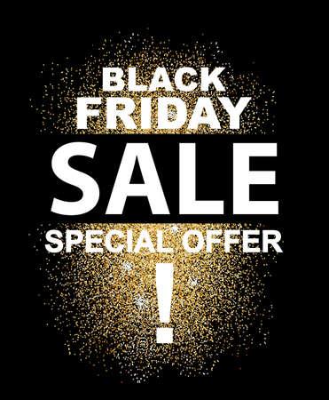 Black Friday Sale typography poster with glitter splash. Vector illustration.