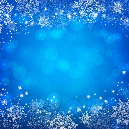 Blue Christmas snowflakes bokeh background. Vector illustration.