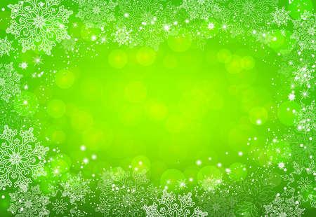 Green Christmas snowflakes bokeh background. Vector illustration. Ilustração Vetorial