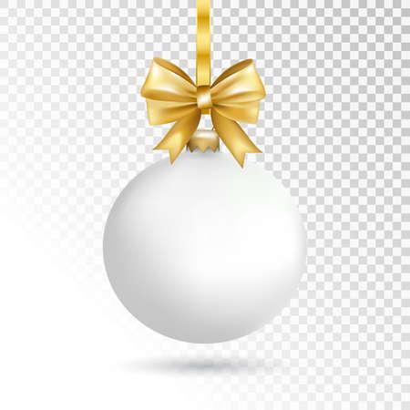 Witte Kerstmisbal met boog die op transparante achtergrond wordt geïsoleerd. Kerstmisstuk speelgoed van de vakantie voor spar. Vector illustratie. Stock Illustratie