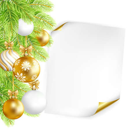 Merry Christmas background with paper, gold, white balls and fir-tree. Vector illustration.
