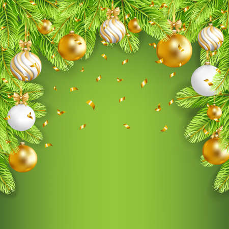 Merry Christmas green background with gold, white balls, confetti and fir-tree. Vector illustration.