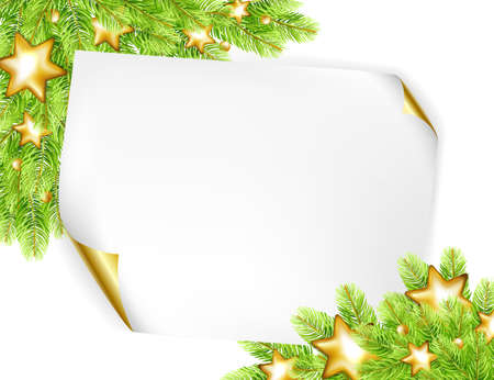 Christmas background with sheet of paper, gold, stars and fir-tree isolated on white background. Vector illustration.