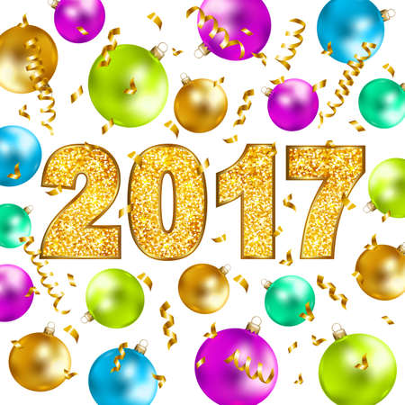 Happy new year 2017 gold glitter texture type with serpentine, confetti, and colorful Christmas balls. Vector illustration.