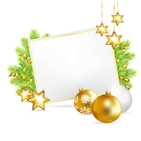 Christmas background with sheet of paper, gold balls, stars and fir-tree isolated on white background. Vector illustration.