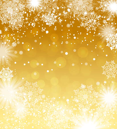 Falling snowflakes gold background. Christmas background. Vector illustration.