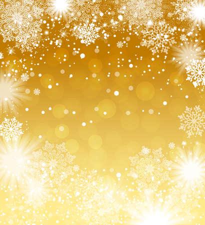 Fallende sneeuwvlokken gouden achtergrond. Kerst achtergrond. Vector illustratie.