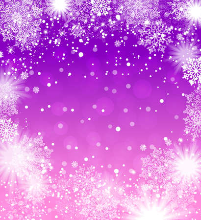 Falling snowflakes violet background. Christmas background. Vector illustration.