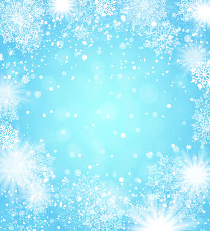 Falling snowflakes blue background. Christmas background. Vector illustration. Ilustração
