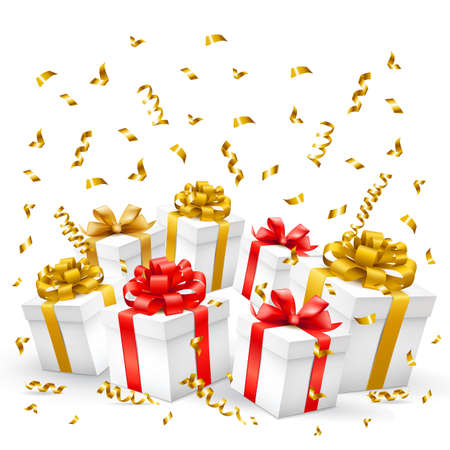 Gift boxes with gold, red ribbons and serpentine. Vector illustration.
