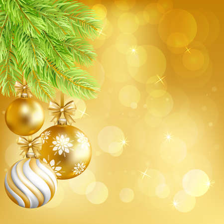 Merry Christmas gold bokeh background with gold balls and fir-tree. Vector illustration. Illustration