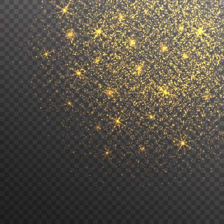 Gold glitter sparkles on transparent background. Vector golden dust texture. Twinkling confetti, shimmering star lights. Illustration