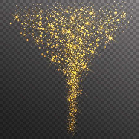 shining light: Magic Glitter Stars Sparkles on transparent background. Shining Light Trail. Vector Illustration.