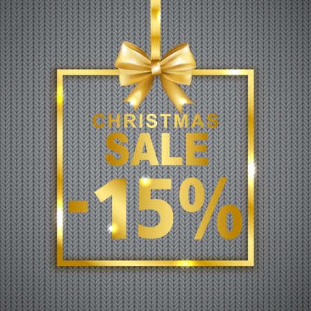 크리스마스 판매 -15 % 할인 니트 질감 배경에 배너. 활 황금 프레임에 그림자와 텍스트입니다. 벡터 일러스트 레이 션.