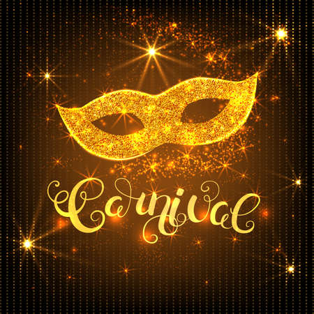 Carnival gold glitter texture mask and calligraphy lettering. Greeting card design template. Vector Illustration. Illustration