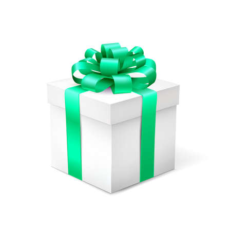 green ribbon: Gift box with green ribbon isolated on white background. Vector illustration.